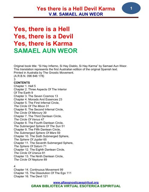 Hell Devil And Karma SAMAEL AUN WEOR - Gran Fratervidad Tao