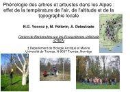 Phénologie des arbres et arbustes dans les Alpes : effet de la ...