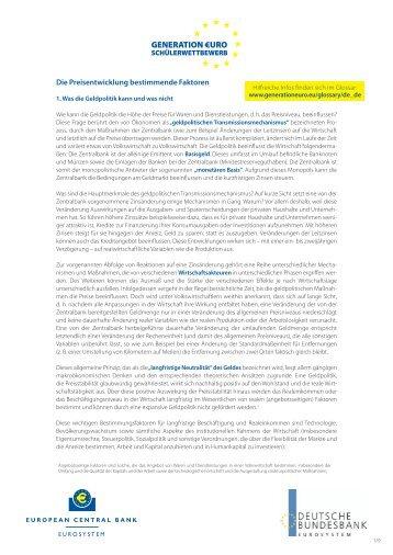 Die Preisentwicklung bestimmende Faktoren (PDF)