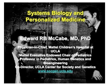 Presentation on Personalized Medicine - UCLA Human Genetics