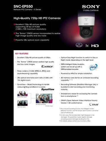 SNC-EP550 - Sony Professional Solutions Asia Pacific