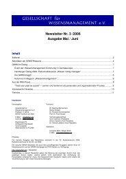 Newsletter Nr. 3 /2006 Ausgabe Mai / Juni - GfWM - Gesellschaft für ...