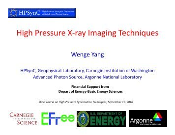 High Pressure X-ray Imaging Techniques - Geophysical Laboratory