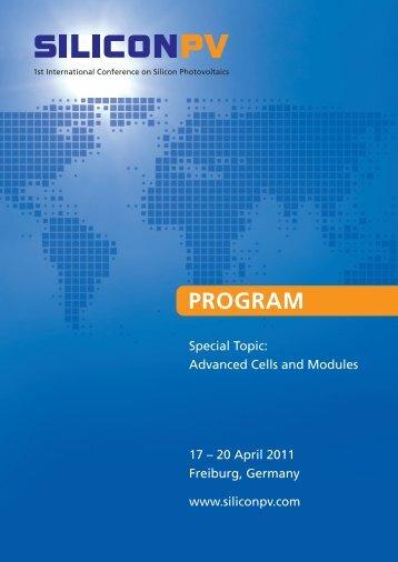 final program 2011 - SILICON PV - SiliconPV