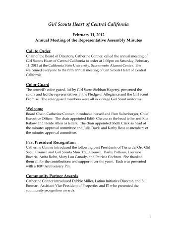 Annual Meeting Minutes 2012 - Girl Scouts Heart Of Central California