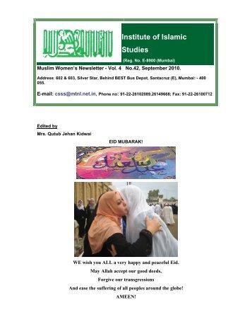 Institute of Islamic Studies, Muslim Women's Newsletter, September ...