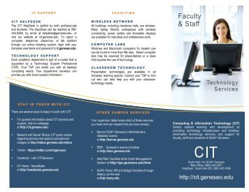 CIT Technology Services Brochure August ... - SUNY Geneseo