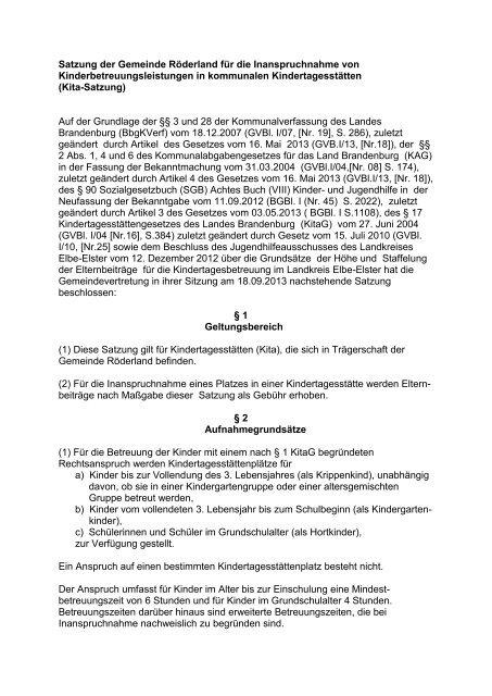 Kitasatzung - Gemeinde Röderland
