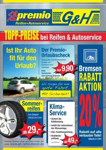 RABATT AKTION - G & H Reifendienst GmbH
