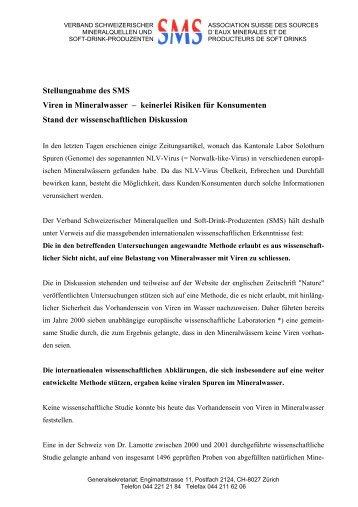 Stellungnahme des SMS Viren in Mineralwasser - Verband ...