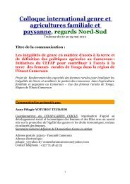 Colloque international genre et agricultures ... - Genre en action