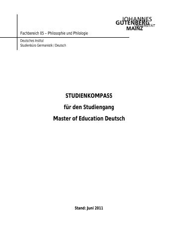 Studienkompass für den Master of Education Deutsch - Johannes ...