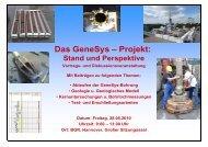 Das GeneSys – Projekt: - Geothermie