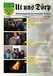 Mitteilungsblatt der Gemeinde Rickert