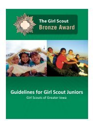 The Girl Scout Bronze Award - Girl Scouts of Greater Iowa