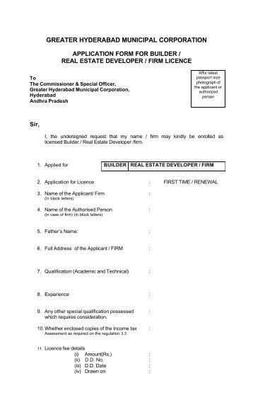 Builder Licence Application Form - Greater Hyderabad Municipal ...