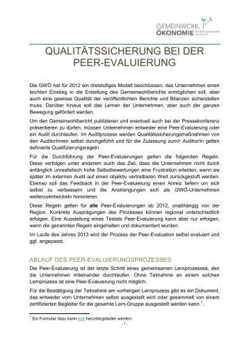 Richtlinien für die Durchführung der Peer-Evaluation