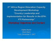 Workshop Objectives and Content - Global Partnership for Education