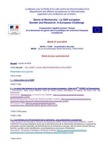 Genre et Recherche : Le Défi européen Gender ... - Genre en action