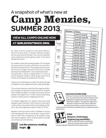 Camp Menzies, - Girl Scouts Heart Of Central California