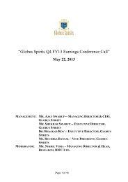 Q4 & FY13 Conference Call Transcript - Globus Spirits