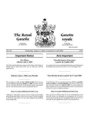 The Royal Gazette Gazette royale - Gouvernement du Nouveau ...