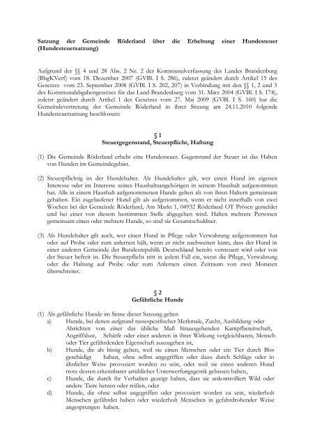 Hundesteuersatzung - Gemeinde Röderland