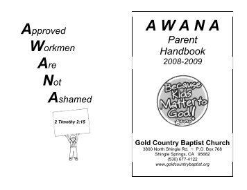 AWANA PARENT AWANA PARENT LETTER