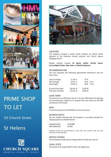 PRIME SHOP TO LET - GCW