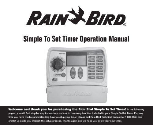 Rain Bird SST Series Sprinkler Timer Manual