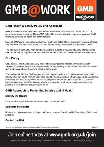 GMB Health & Safety Policy and Approachx