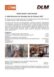 Global denken, lokal handeln 2. VDW Exkursion am Sonntag, den ...