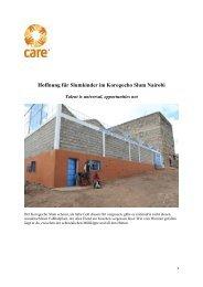 Hoffnung für Slumkinder im Korogocho Slum Nairobi