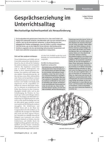 """""""Gesprächserziehung im Unterrichtsalltag."""" - Wechselseitige ..."""