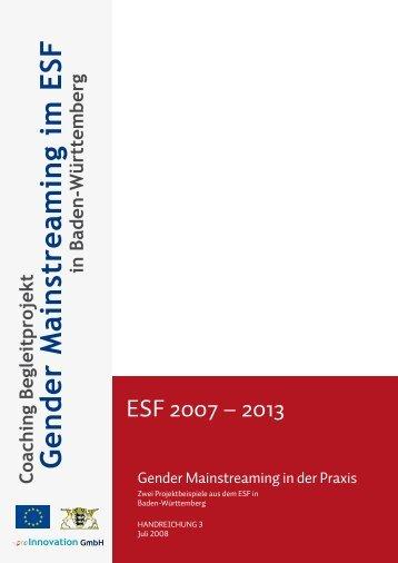 Handreichung 3: Gender Mainstreaming in der Praxis - Gem-esf-bw.de