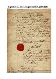 Legitimations- und Reisepass aus 1815