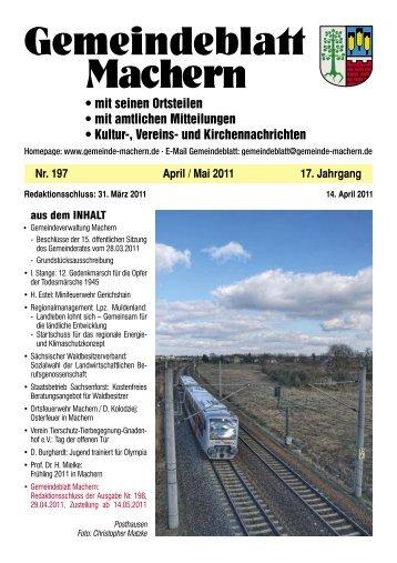 Amtsblatt Nr. 197 April 2011 - Gemeinde Machern