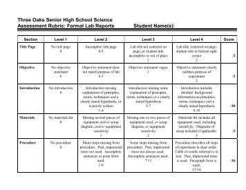 high school lab report