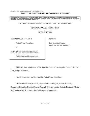 Myles v. County of Los Angeles - Greines, Martin, Stein & Richland ...