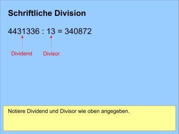 Schriftliche Division 4431336 : 13 = 340872 - Gigers.com