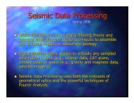 Seismic Data Processing GEOS 469/569 – Spring 2006