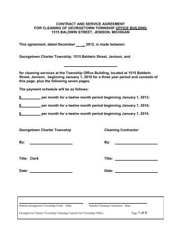 Contract And Service Agreement For Cleaning Of Georgetown