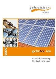 Produktkatalog Product catalogue - Gehrlicher Solar AG