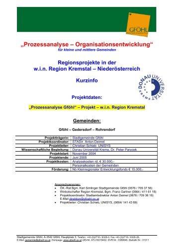 """""""Prozessanalyse – Organisationsentwicklung"""" - Stadtgemeinde Gföhl"""
