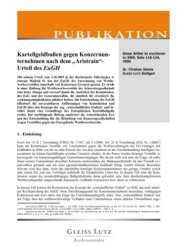 Urteil des EuGH - Gleiss Lutz