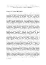 Proyecto El problema de la unidad de la izquierda en Chile y Uruguay