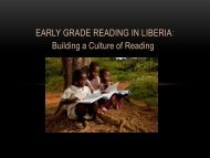 Early Grade Reading in Liberia - Global Partnership for Education