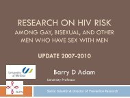 Research on HIV risk among gay and bisexual men: 2006 - GMSH