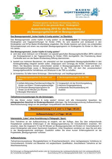 Ausschreibung 2010 für die Bewerbung als Bewegungsfachkraft im ...