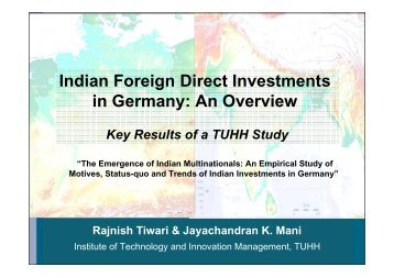 Indian Foreign Direct Investments in Germany ... - Global Innovation